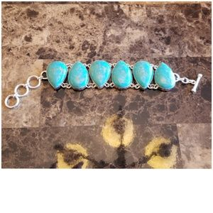 Jewelry - Huge Copper Turquoise Bracelet 8.5""